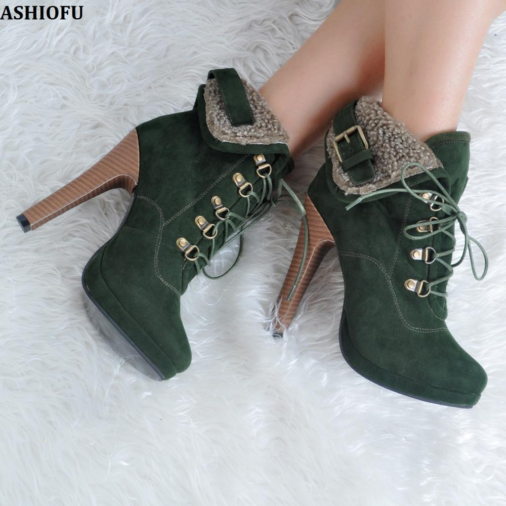 ASHIOFU Handmade New Ladies High Heel Boots Shoelace Retro Warm Ankle Boots Fashion Buckle Deco Winter Short Boots Shoes