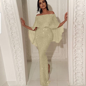 Sexy Bodycon Dress Women Evening Gown Shiny Sequin Off Shoulder Ruffles Sleeve Party Zipper Back Ladies Vestidos Elegant Clothes(China)