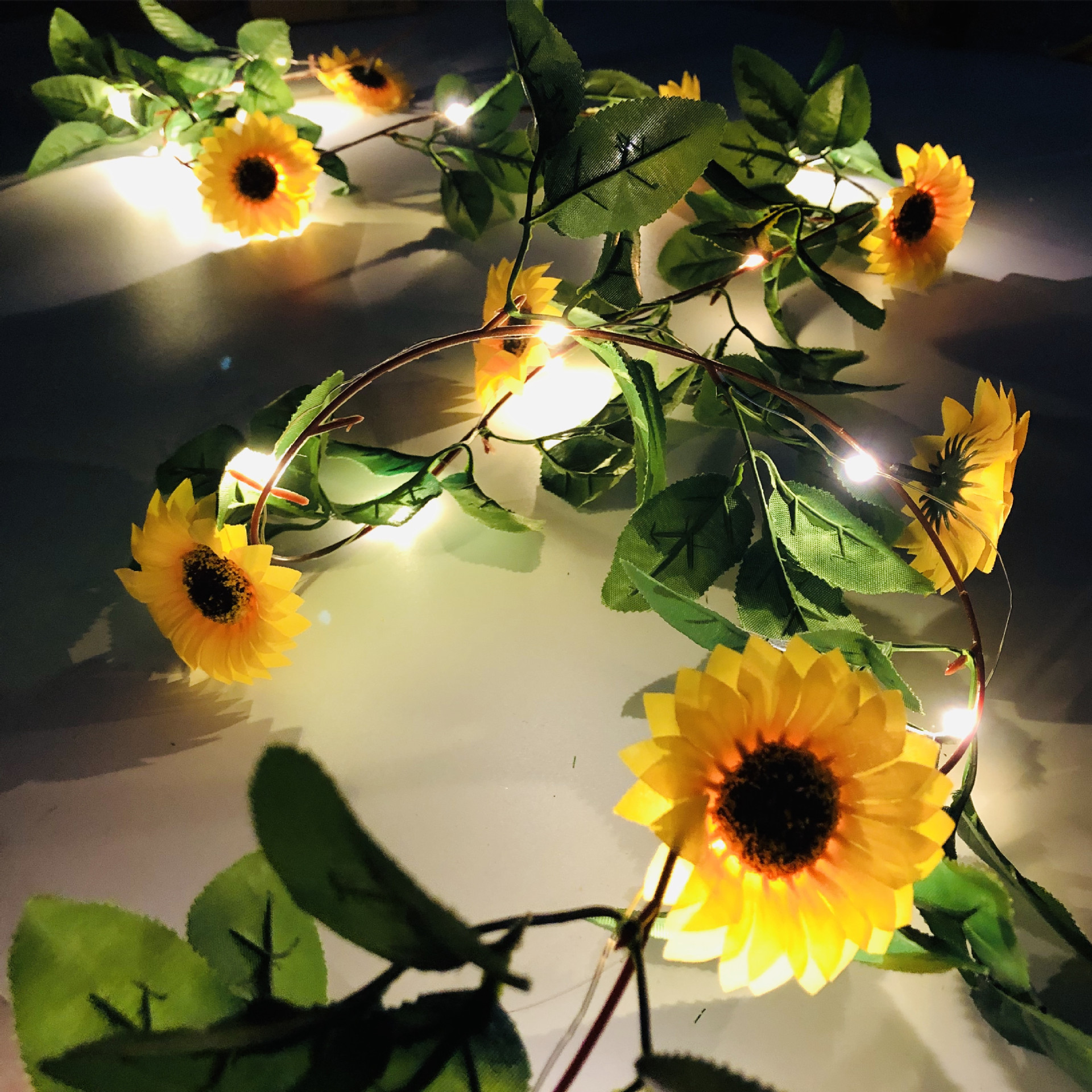 Fairy Full Bloom Chrysanthemum Battery String Lights 2M Led Decorazioni Natale 2019 For Christmas Garland On The Window New Year