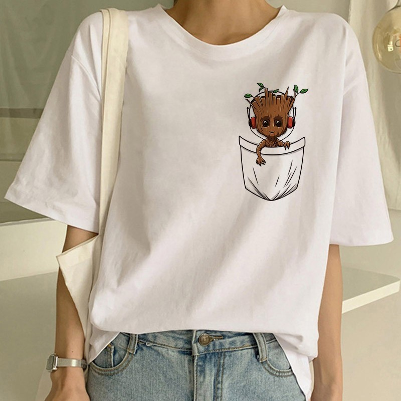 Sexy Kawaii Top Tops Tshirt Tee Funny Fashion Vogue Cartoon T Shirt Harajuku Cropped Tumbl Women T-shirt Cute Bady Groot Printed