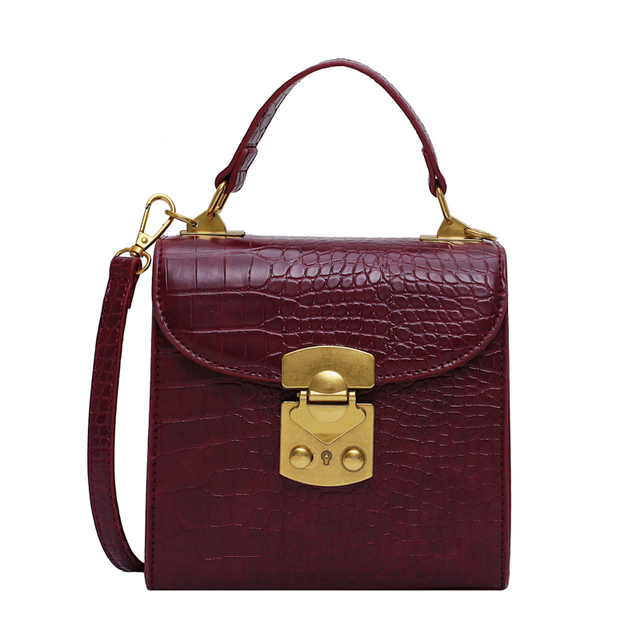 Mini Stone Pattern PU Leather Crossbody Bags For Women 2019 Lock Designer Shoulder Messenger Bag Female Travel Handbags 5