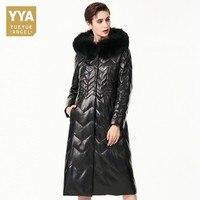 Winter New Women Real Fox Fur Collar Hoody Long White Duck Down Jacket Warm Slim Fit Genuine Leather Trench Coat Ladies Overcoat
