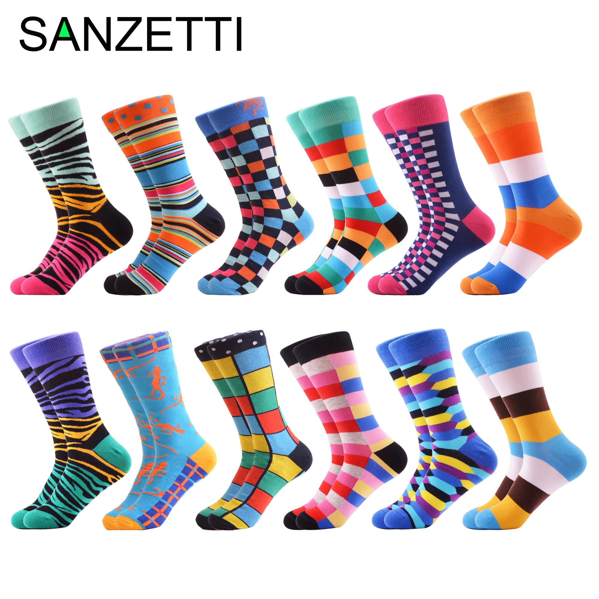 SANZETTI 12 Pairs/Lot Men Casual Combed Cotton Funny Crew Socks Harajuku Hipster Boat Socks Novelty Gifts Creative Dress Socks