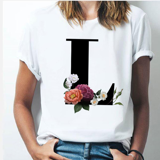 Vogue 26 alphabet letter women T-shirt Harajuku A To Z Alphabet combination flowers Short Sleeve casual Korean Style Tops female 1