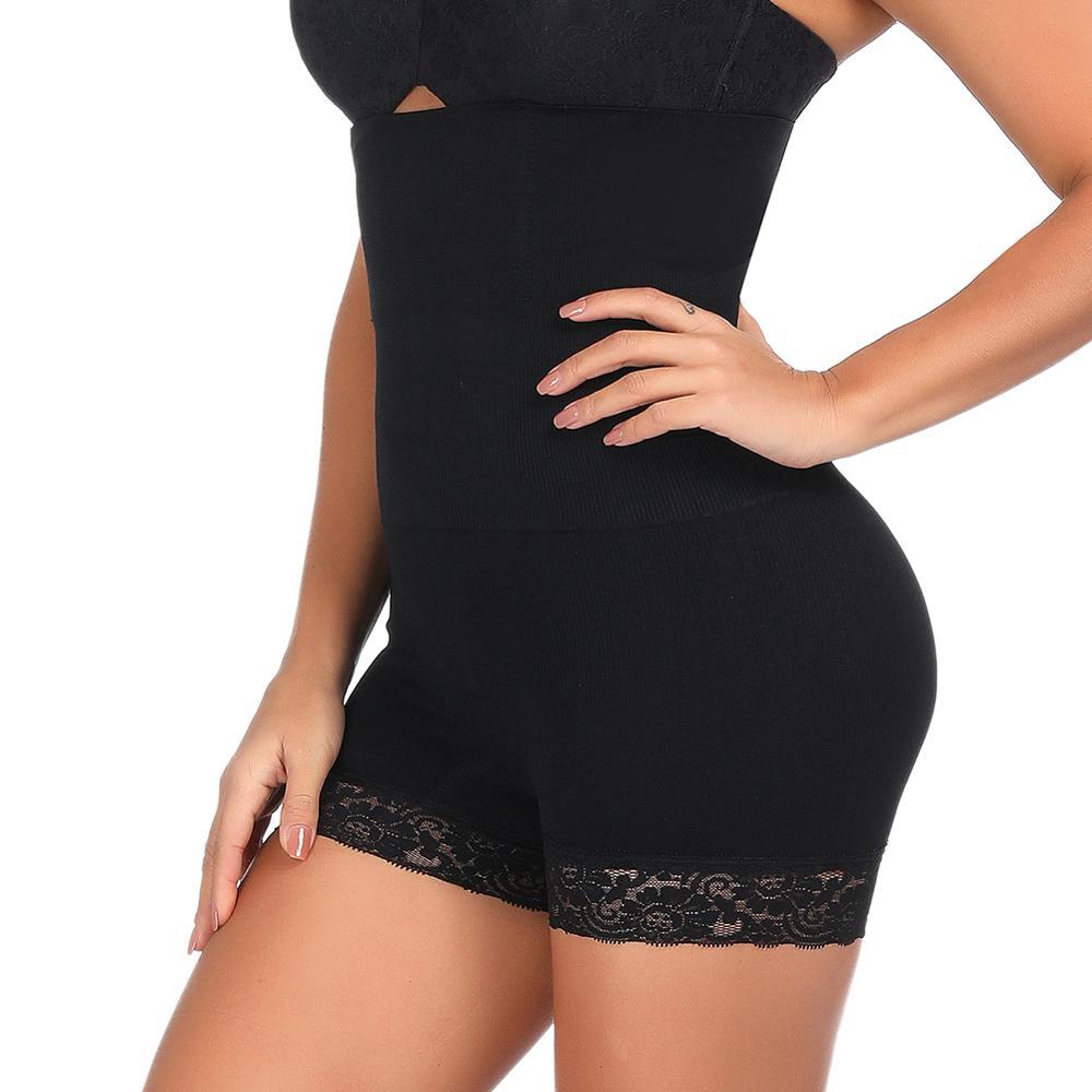 Women Seamless Slimming Shapewear Tummy Control Shorts High-Waist Panty Body Shaper Lace Boyshorts Underwear