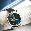 Часы Reef Tiger/RT  автоматические дизайнерские часы из натуральной кожи для мужчин 2020