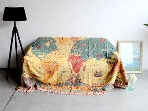 Image 5 - World map Bohemian Chenille Plaids Blanket Sofa Decorative Throws on Sofa/Bed large Cobertor Blanket Tassel Knitted blanket