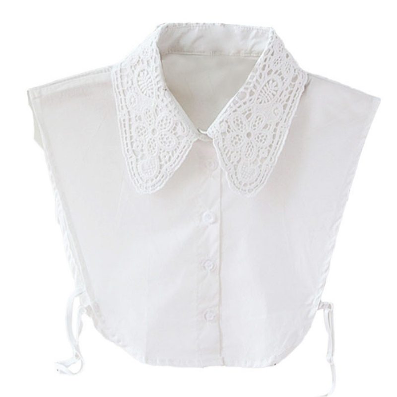 Vintage Women's Fake Lace Shirt Blouse Peter Pan Detachable Collar Tie 3 Colors