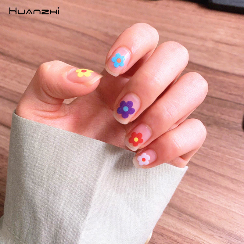 HZ Korea 2019 Summer Sweet Cute Colorful Flower Nail Sticker Waterproof Design Nail Decals For Women Girls Party Accessories