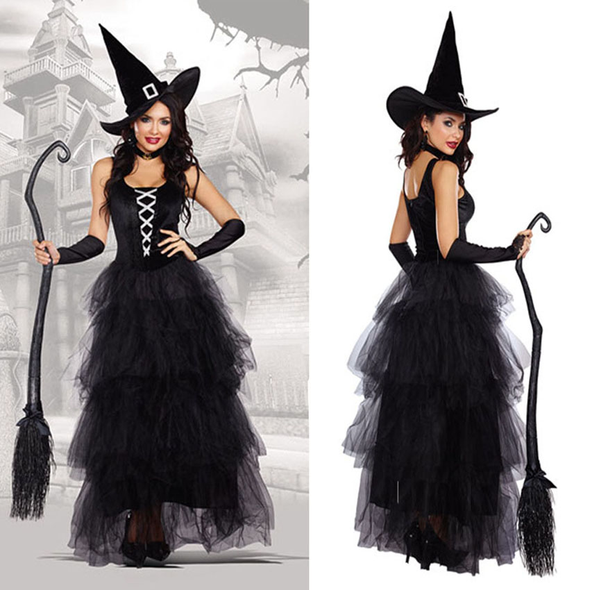 Black Female Scary Halloween Carnival Cosplay Costumes Medieval Queen Witch Role-play Princess Dress Party Clothing