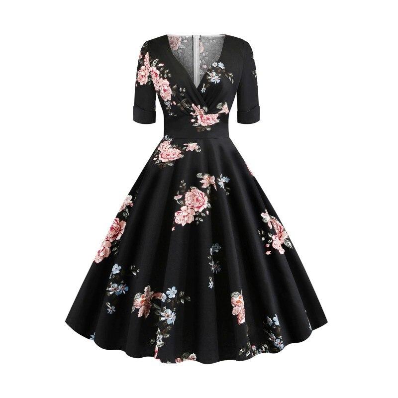 Cocktail Dresses Knee Length 2019 Flower Print Swing Short Party Gown Elegant V Neck Sleeved Formal Robe