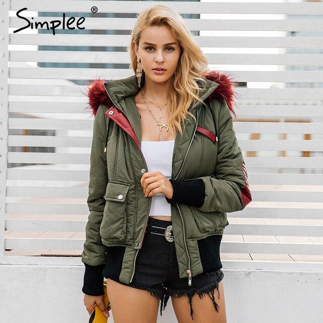 Simplee Hood padded parka winter jacket women coat Fur warm pocket zipper winter overcoat Snow wear thick jacket coat female 6