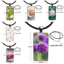 Dandelion Lotus Roses For Women Jewellery Steel Color Glass Cabochon With Rectangle Shaped Pendant Choker Necklace(China)