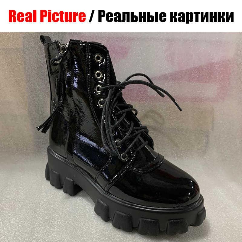 DORATASIA artı boyutu 32-46 marka platformu patik bayanlar moda Patent PU yarım çizmeler kadın 2020 gündelik takozlar ayakkabı kadın