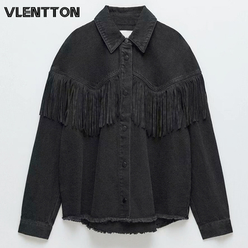 Spring Autumn Women Oversize Vintage Black Denim Jackets Chic Tassel  Solid Jeans Coat Female Casual Loose Outerwear Tops Mujer