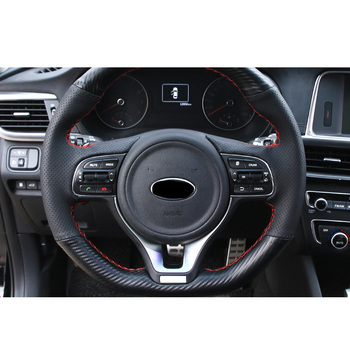 Lsrtw2017 Genuine Leather Car Steering Wheel Cover Trims for Kia K5 Pro 2016 2017 2018 2019 2020 Interior Mouldings Accessories