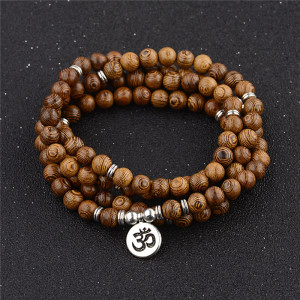 Multilayer 108 Wood Beads Lotus OM Bracelet Tibetan Buddhist Mala Buddha Charm Rosary Bracelet Yoga Wooden For Women Men Jewelry(China)
