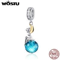WOSTU 100% бусины из стерлингового серебра 925 эльф планета синие циркониевые амулеты подходят к оригинальному браслету Подвески для изготовлен...