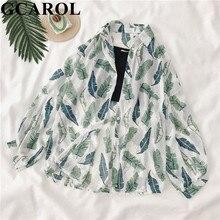 GCAROL mujeres Floral estilo novio Vintage camisa y Chaleco Corto 2 piezas verano primavera delgada blusa Casual suelta Tops a prueba de sol
