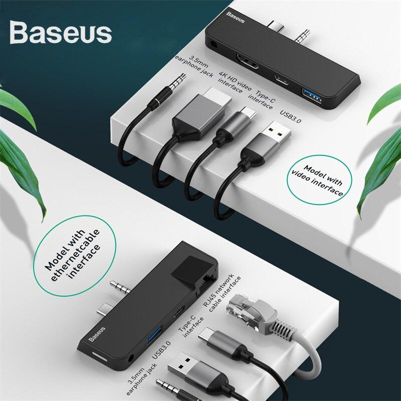 Baseus Multi USB HUB Type-C+Audio to RJ45+USB3.0+Type-C(data)+Audio Power Adapter For MacBook Air Dock 3 Port USB-C