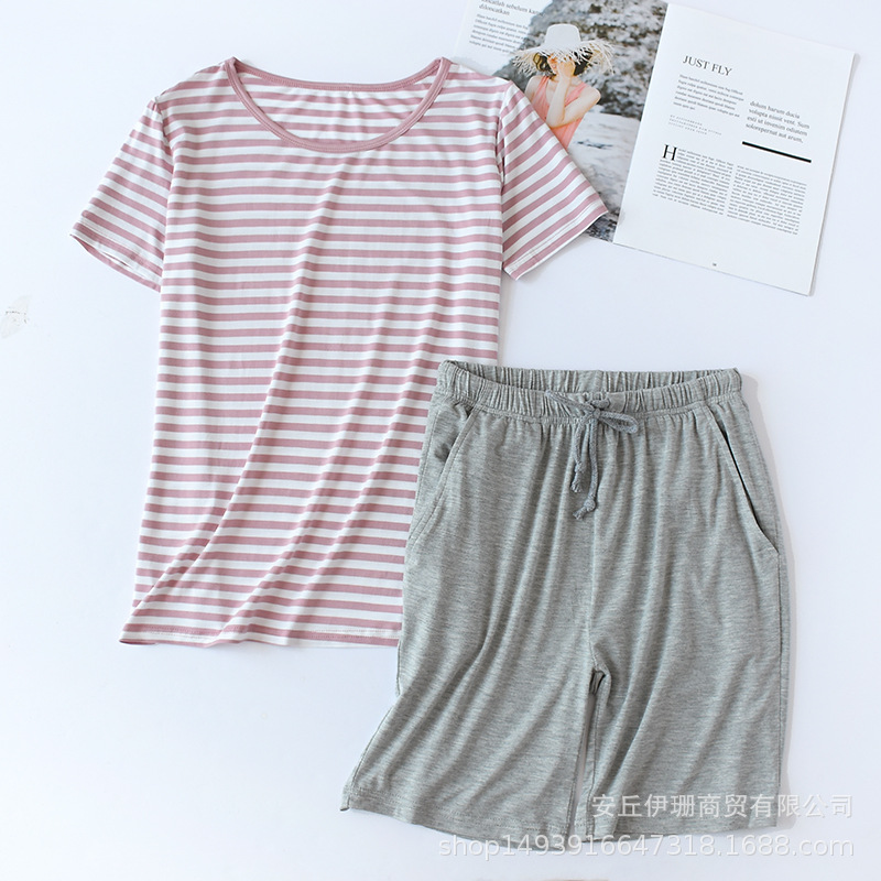 Modal Pajamas Women's Summer Set Stripe Short Sleeve Shorts Two-Piece Set Thin Large Size Home Wear-Outer Wear