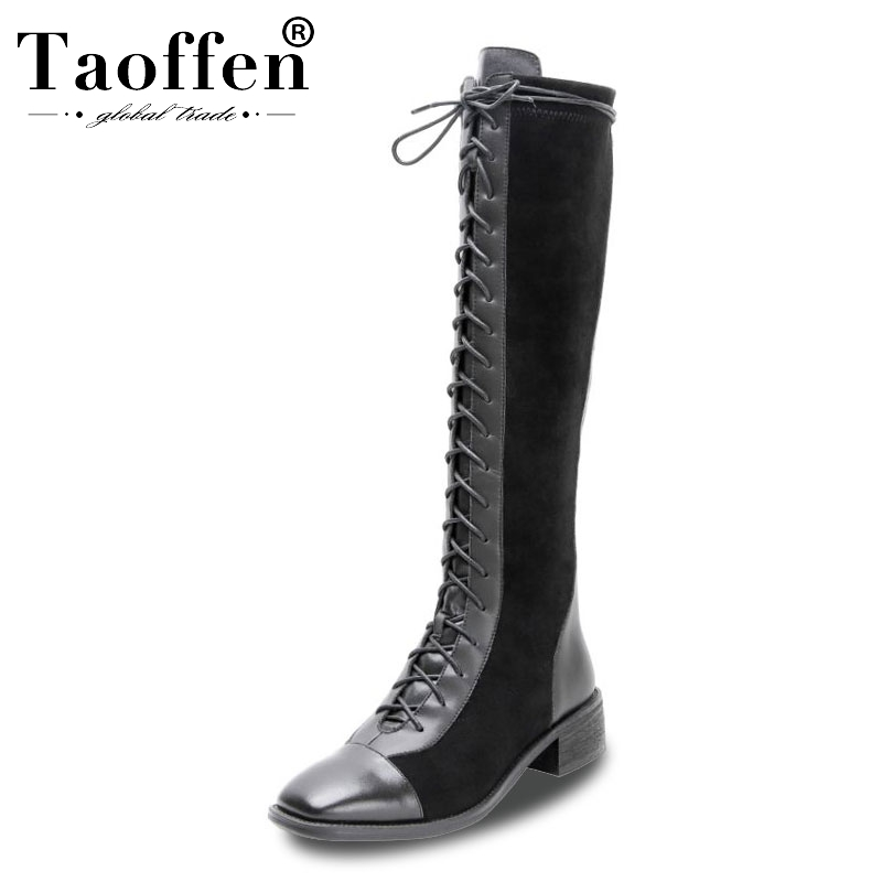 Taoffen 2020 Real Leather Motorcycle Boots Woman Sexy Ladies Daily Casual Flats Boots Brand Knee High Boots Footwear Size 34-42