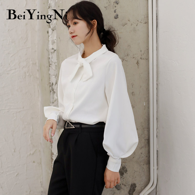 Beiyingni Fashion Casual Bow Tie Blouses Womens Tops Oversized Vintage Solid Color Shirts Female Autumn Winter Long Sleeve Blusa 5