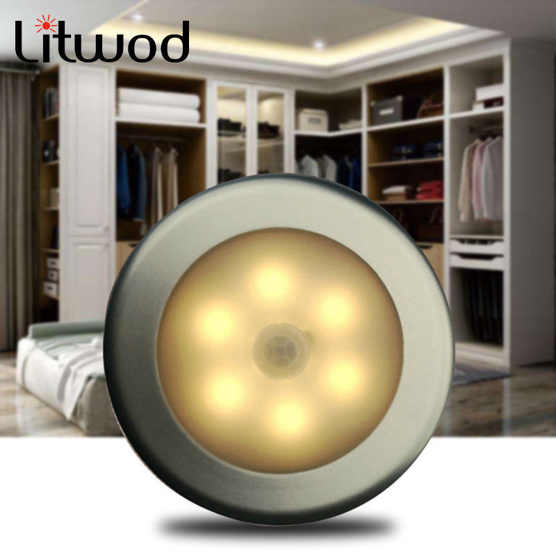 Wall Lamp Sensor 6 Led Battery Motion Bulbs Emergency Dry Pc Round AAA Battery Closet Pir Body Activated Induction Night Light