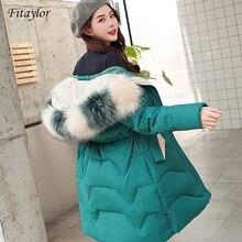 Fitaylor Winterjas Vrouwen Grote Bontkraag Warme Parka Medium Lange Casual Hooded Plus Size Sneeuw Overjas