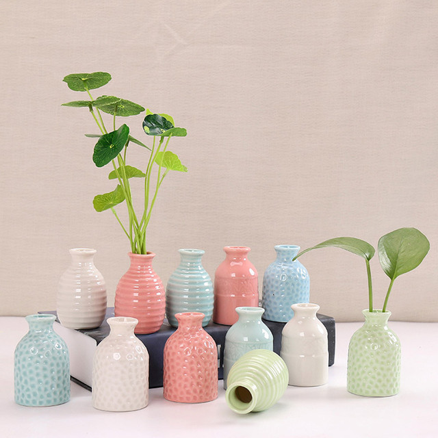 Creative Ceramic Vase Simple Office Home Desktop Decoration Small Crafts Ceramic Aromatherapy Bottle Dried Flower Flower #YL10 1