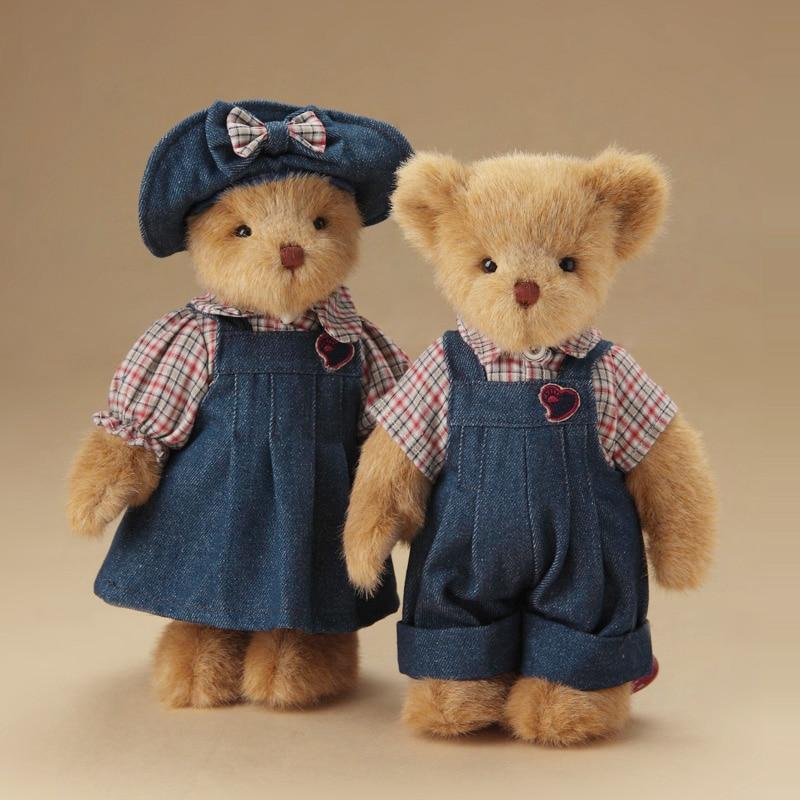 A pair dressed Plush teddy bear plush stuffed toys plush joint teddy bear doll kids toys girl birthday gift cute home decor