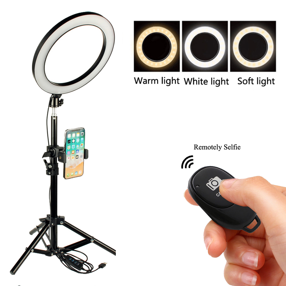 LED Selfie Ring Licht Dimmbare LED Ring Lampe Foto Video Kamera Telefon Licht ringlight Für Live YouTube Füllen Licht