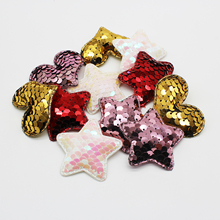 Glitter Sequins Fabric Heart/Star/Fish  Padded Patches Appliques for DIY Crafts Clothes Hats Hairpin Cake Ornament Accessories 2pc set black star beaded patches for clothing sequin stars rhinestone appliques beads parche diy handmade clothes accessories