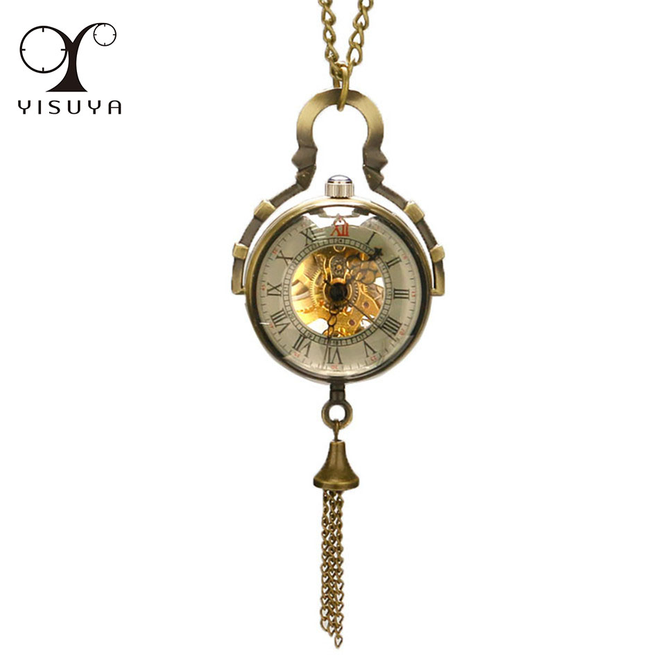 Transparent Glass Ball Shape Roman Numbers Mechanical Pocket Watch Bronze Exquisite Pendant Necklace Watches Retro Clock Gifts