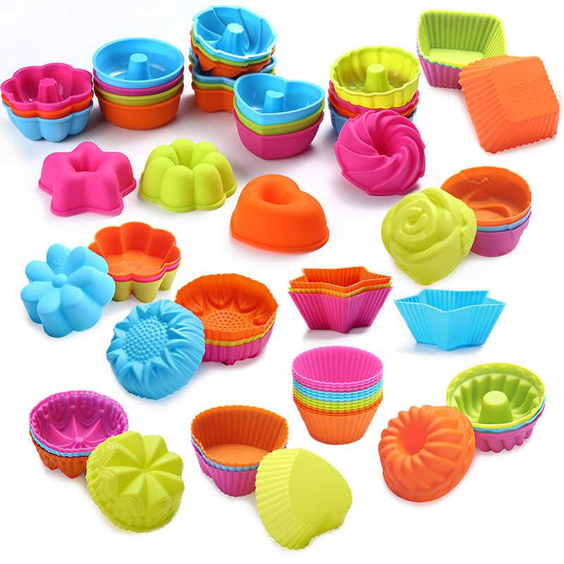 ใหม่ 36/24pcs ซิลิโคน Cupcake กระดาษถ้วย 3D เค้กถ้วยกรณี Muffin เค้กแม่พิมพ์เค้กขนาดเล็กกล่องถ้วยถาดตกแต่งเครื่องมือ
