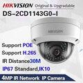Hikvision DS-2CD1143G0-I POE камера видеонаблюдения 4MP IR Сетевая купольная камера 30 м IR IP67 IK10 H.265 + слот для sd-карты