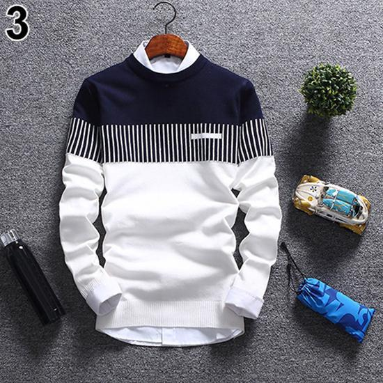 Men's Sweaters Autumn Fashion Casual Strip Color Block Knitwear Pullover Sweater Cotton Long Sleeve men Clothing pull homme 2021 1