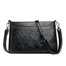 Fashion Genuine Leather woman shoulder bag flower printed messenger Small Cowhide Crossbody Bag for