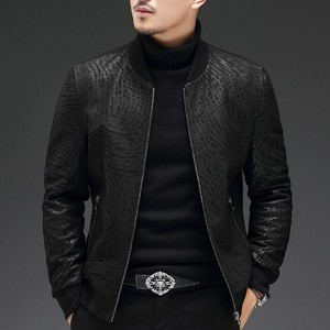 Image 3 - High Quality Sheepskin Slim Fit Mens Autumn Jackets Long Sleeve Zip Genuine Leather Casual Black Male Outerwear Coats Plus Size