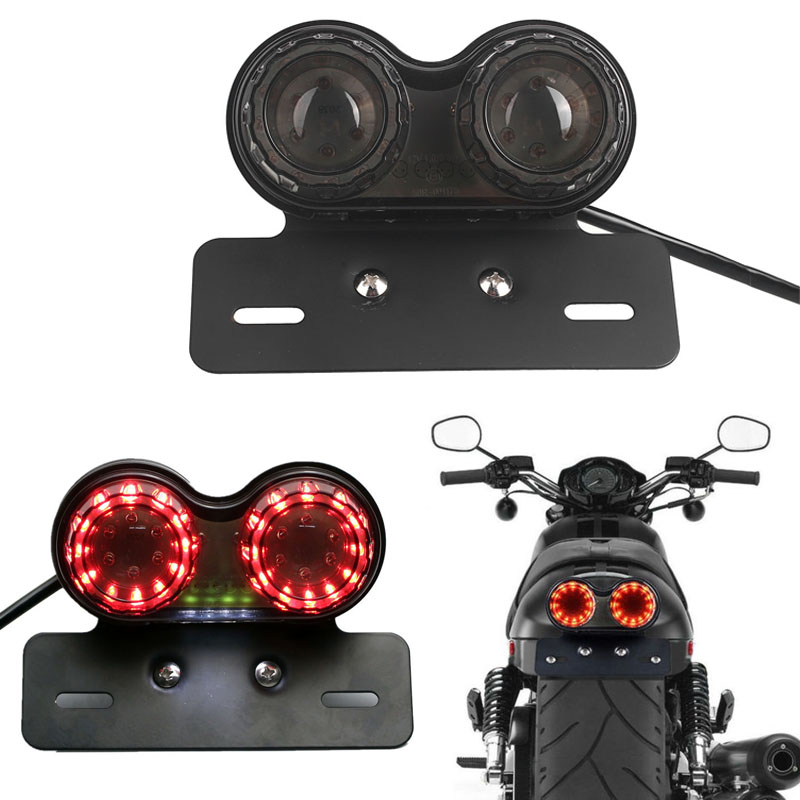 Integrated Tail Light Dual LED Light Generic Motorcycle Light License Plate Motor DC 12V Plastic Durable