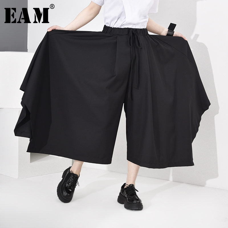 [EAM] High Elastic Waist Black Big Size Long Asymmetrical Trousers New Loose Fit Pants Women Fashion Tide Spring Autumn 2020