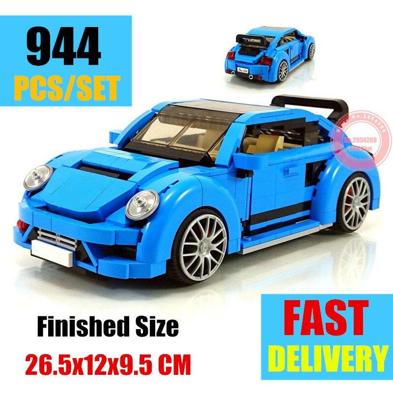 New MOC 944PCS Beetle Blue Car Fit Legoings Technic Car Model Building Block Bricks Kits Kid Gift Toys Birthday ChristmasModel Building