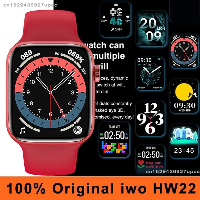 Оригинальные мужские Смарт-часы iwo HW22, 44 мм, Bluetooth, IP67, водостойкие, с калькулятором, пульсометром, «сделай сам», умные часы с функцией распозн...