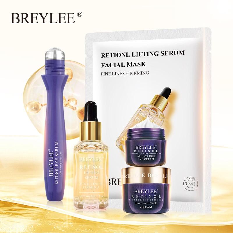 BREYLEE Retinol Skin Care Set Anti Aging Firming Sagging Face Mask Eyes Cream Serum Remove Fine Lines Wrinkle Tightening Essence