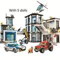 Серия городская полиция, мотоцикл, автомобиль, вертолет, строительные блоки Policei станция DIY Кирпичи игрушки для детей мальчиков 82016 60141