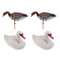 4 Floating Swan Decoy Foldable Swan Hunting Decoys Hunting Bait for Hunting Fishing Garden Decors Lawn Ornaments Pest Scarecrow