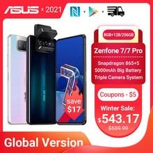 Versão global asus zenfone 7/7 pro 5g smartphone snapdragon 865/865 mais 8gb ram 128/256 rom 5000mah bateria android q 90hz nfc