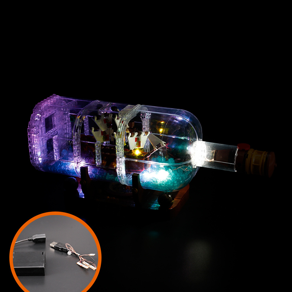Lepining LED Light Ship Boat In A Bottle <font><b>21313</b></font> Technic Ideas Playmobil Building Blocks Bricks kids Toys For Children Christmas image
