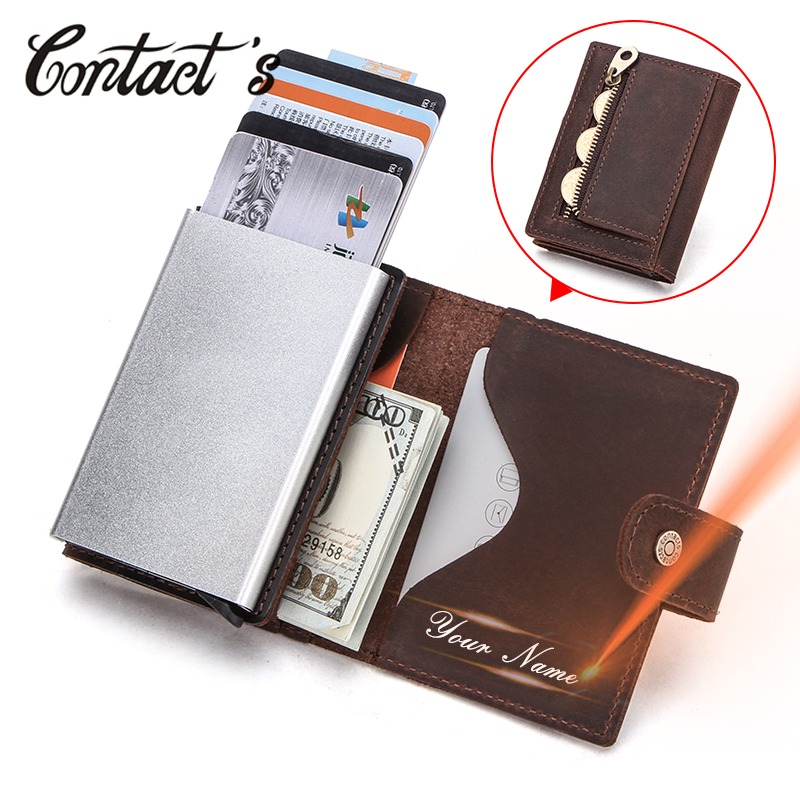 Contacts Men Card Case Business ID Card Holders Crazy Horse Leather Men Wallets Rfid Credit Card Holder Aluminium Box CustomizeCard & ID Holders   -
