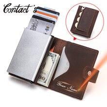 連絡の男性カードケースビジネスidカードホルダークレイジーホースレザーメンズ財布rfidクレジットカードホルダーアルミボックスカスタマイズ